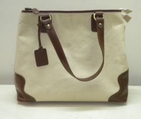 CANVAS LEATHER SHOPPING BAG (cream)